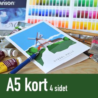 Kunstkort A5 fire-sidet